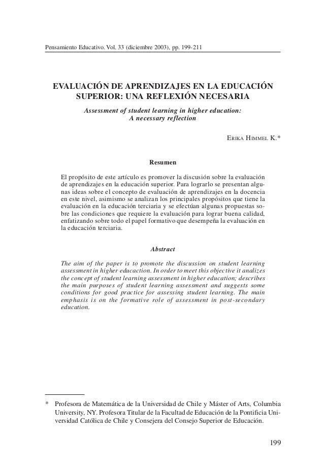 EVALUACIÓN DE APRENDIZAJES EN LA EDUCACIÓN SUPERIOR:…199Pensamiento Educativo. Vol. 33 (diciembre 2003), pp. 199-211ERIKA ...