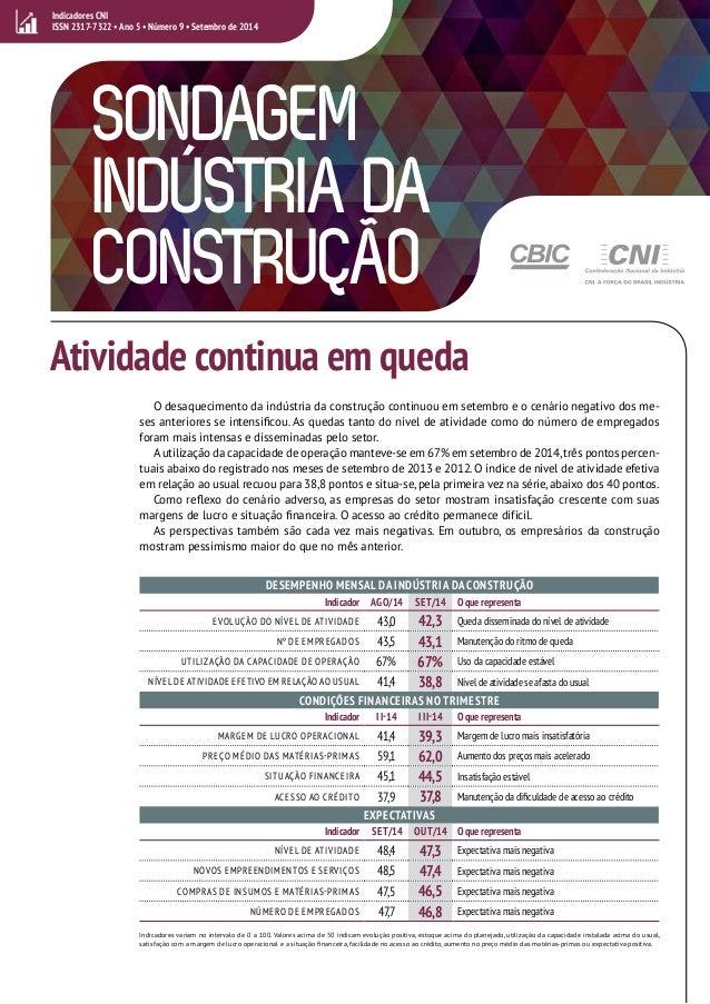 SONDAGEM  INDÚSTRIA DA  CONSTRUÇÃO  Atividade continua em queda  O desaquecimento da indústria da construção continuou em ...