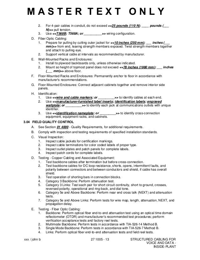 CSI Master Format Specification 271005 Structured Cabling for Voice a…