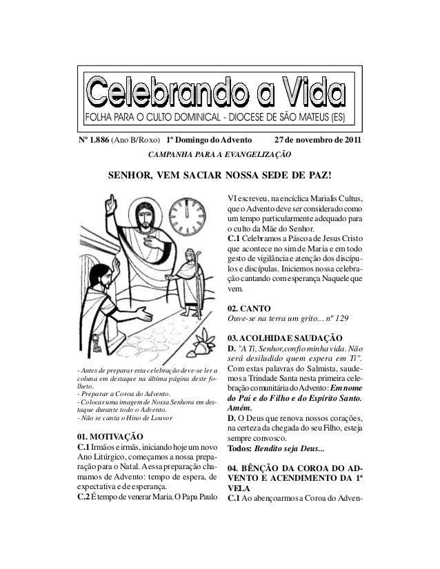 Nº 1.886 (Ano B/Roxo) 1º Domingo do Advento                       27 de novembro de 2011                        CAMPANHA P...