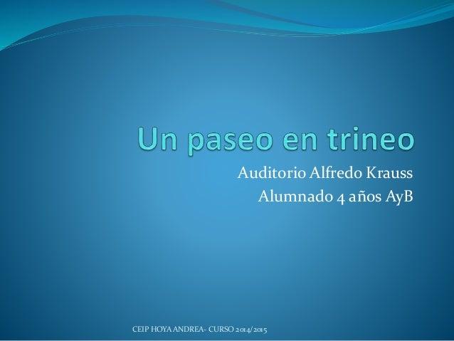 Auditorio Alfredo Krauss Alumnado 4 años AyB CEIP HOYA ANDREA- CURSO 2014/2015
