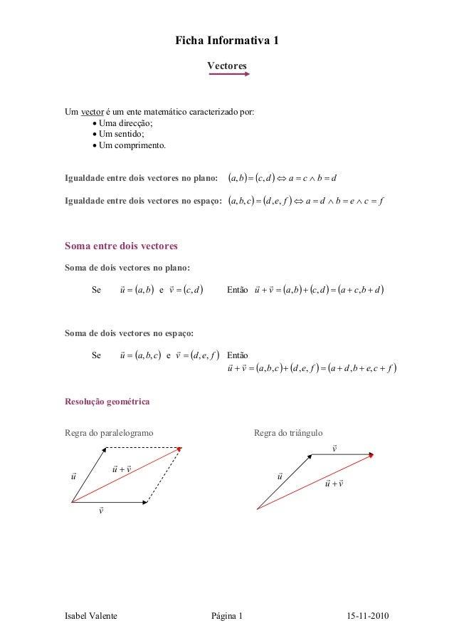 Isabel Valente Página 1 15-11-2010 Ficha Informativa 1 Vectores Um vector é um ente matemático caracterizado por: • Uma di...