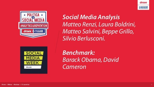 Roma • Milano • Modena + 15 countries Social Media Analysis Matteo Renzi, Laura Boldrini, Matteo Salvini, Beppe Grillo, S...