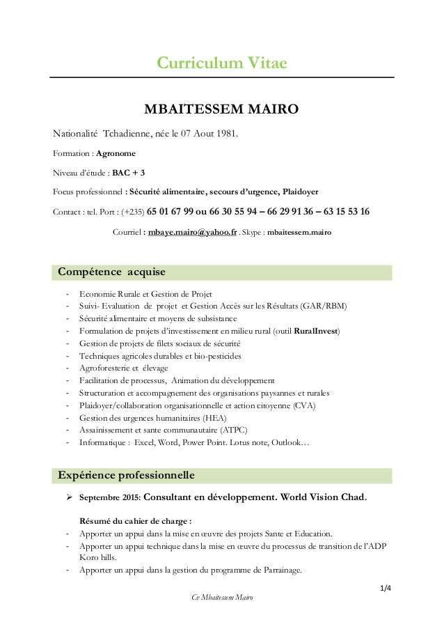 1/4 Cv Mbaitessem Mairo Curriculum Vitae MBAITESSEM MAIRO Nationalité Tchadienne, née le 07 Aout 1981. Formation : Agronom...