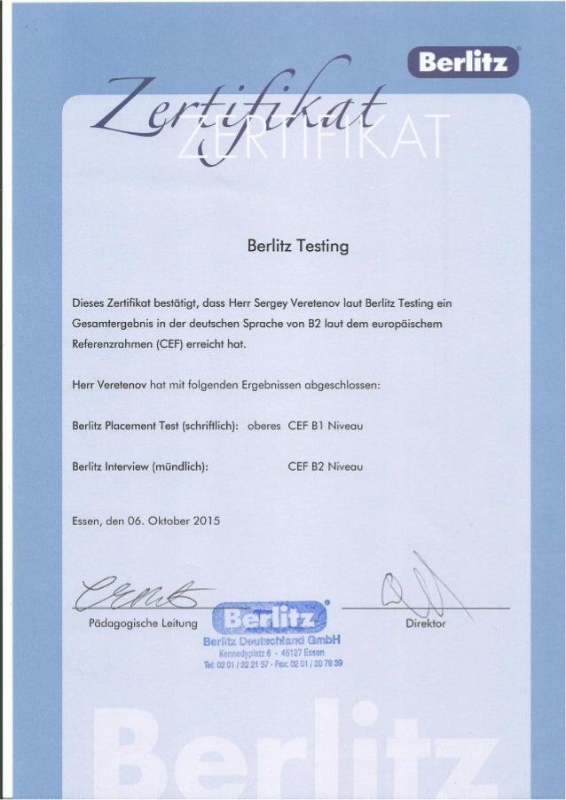 Deutsch B2 Zertifikat