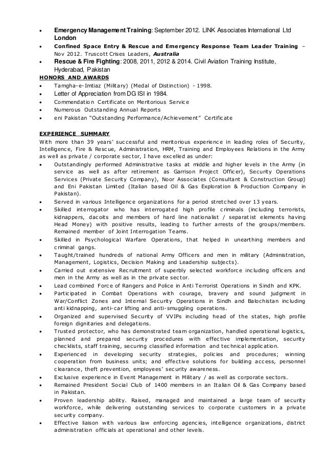 RESUME - Col Ata- eni Pakistan Ltd.