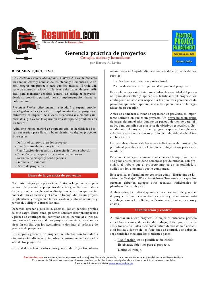 Libros de Gerencia Resumidos                                              Gerencia práctica de proyectos                  ...