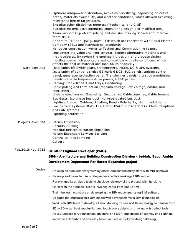 resume of islam m  elshora mep technical office  u0026 bim manager