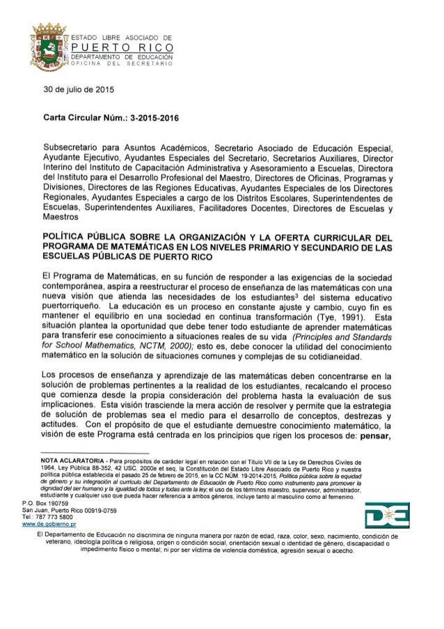 ?ESTADO LIBRE ASOCIADO DE  «APUERTO RICO  b* DEPARTAMENTO DE EDUCACIÓN  b 74  vOFIClHA DEL SECRETARIO  30 de julio de 2015...