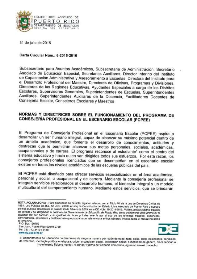 Carta Circular núm. 6-2015-2016 Programa de Consejería Profesional