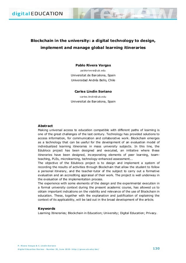 B lockchain in the university: a digital technology to design, implement and manage global learning itineraries P. Rivera ...
