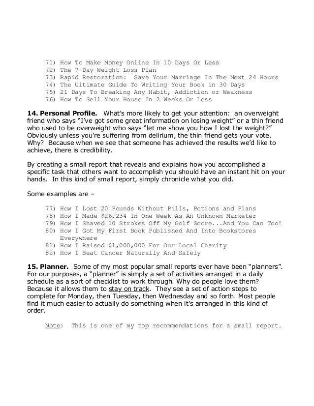 71)HowToMakeMoneyOnlineIn10DaysOrLess 72)The7DayWeightLossPlan 73)RapidRestoration:SaveYourMarr...