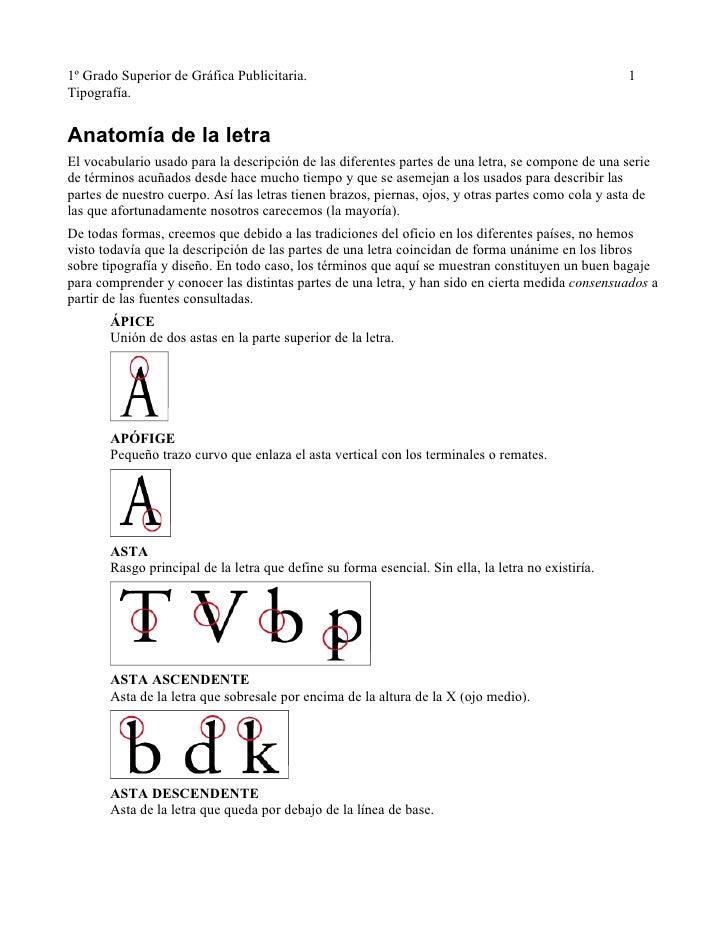 1º Grado Superior de Gráfica Publicitaria.                                                           1 Tipografía.   Anato...