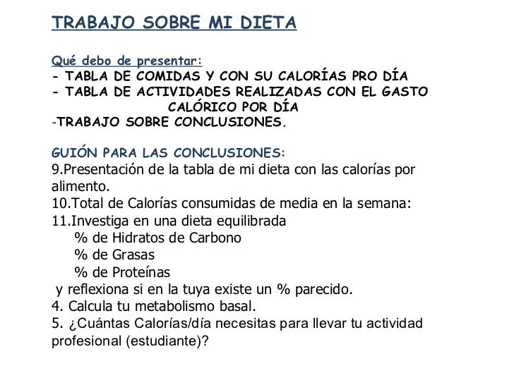 <ul><li>TRABAJO SOBRE MI DIETA </li></ul><ul><li>Qué debo de presentar: </li></ul><ul><li>- TABLA DE COMIDAS Y CON SU CALO...