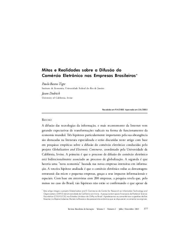 Revista Brasileira de Inovação  Mitos e Realidades sobre a Difusão do Comércio Eletrônico nas Empresas Brasileiras* Pau...