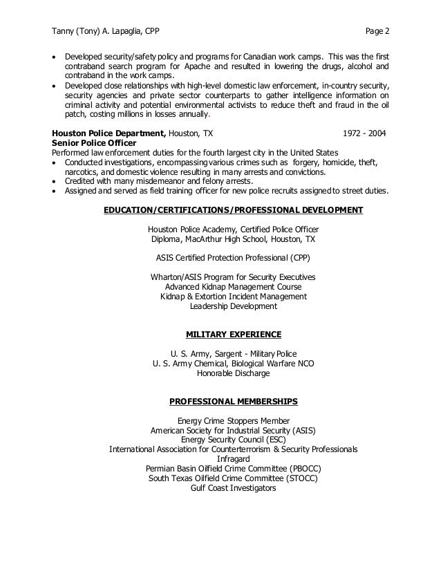 Outstanding Department Of Energy Security Resume Vignette ...