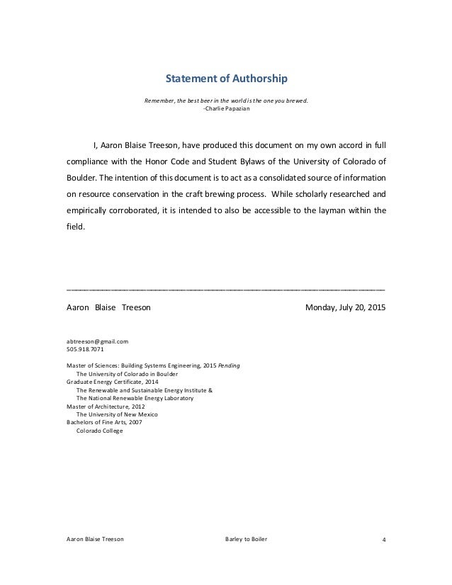 Statement of authorship master thesis help essay writing competition 2015