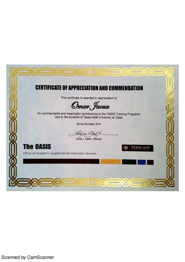 Certificate of appreciation qatar foundation yadclub Images