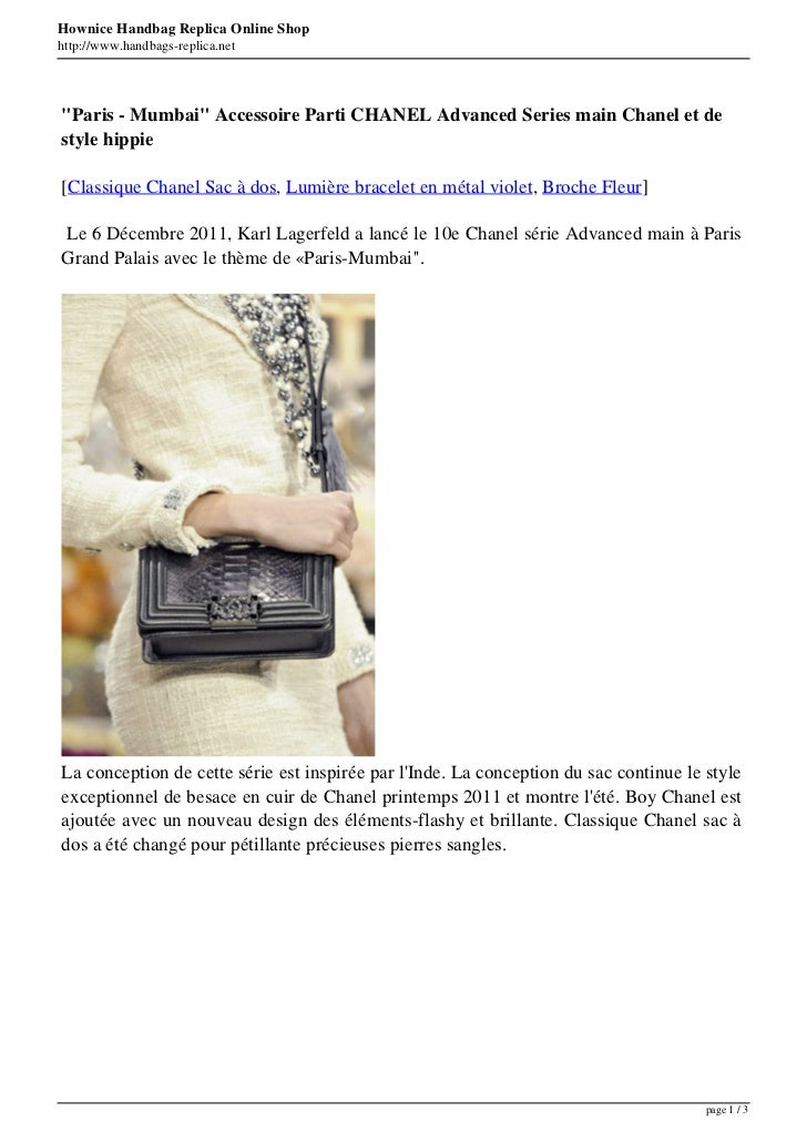 "Hownice Handbag Replica Online Shophttp://www.handbags-replica.net""Paris - Mumbai"" Accessoire Parti CHANEL Advanced Series..."