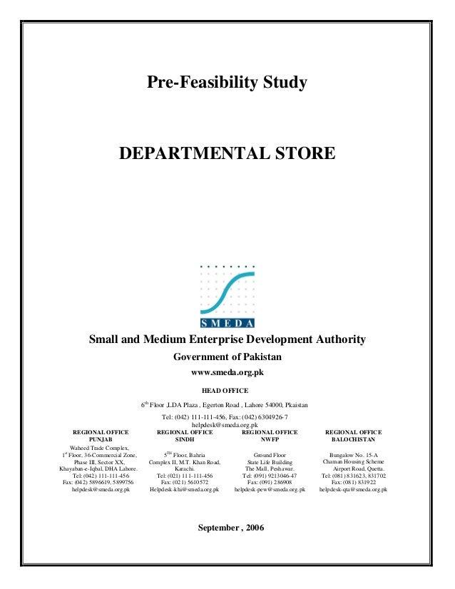 Pre-Feasibility Study                       DEPARTMENTAL STORE           Small and Medium Enterprise Development Authority...