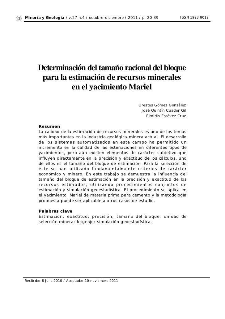 20   Minería y Geología / v.27 n.4 / octubre-diciembre / 2011 / p. 20-39          ISSN 1993 8012            Determinación ...
