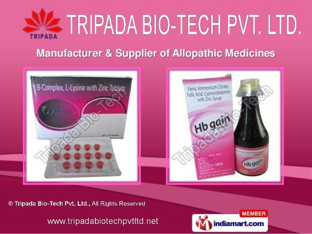 Manufacturer & Supplier of Allopathic Medicines
