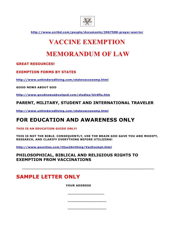 VACCINE EXEMPTION MEMORANDUM OF LAW