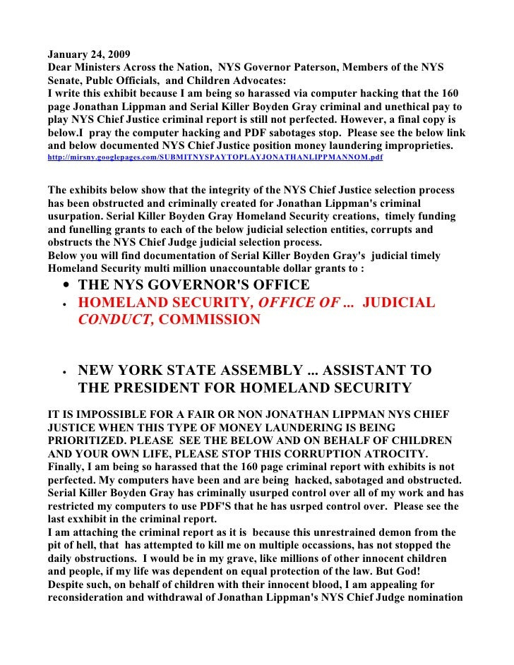 January 24, 2009 Dear Ministers Across the Nation, NYS Governor Paterson, Members of the NYS Senate, Publc Officials, and ...