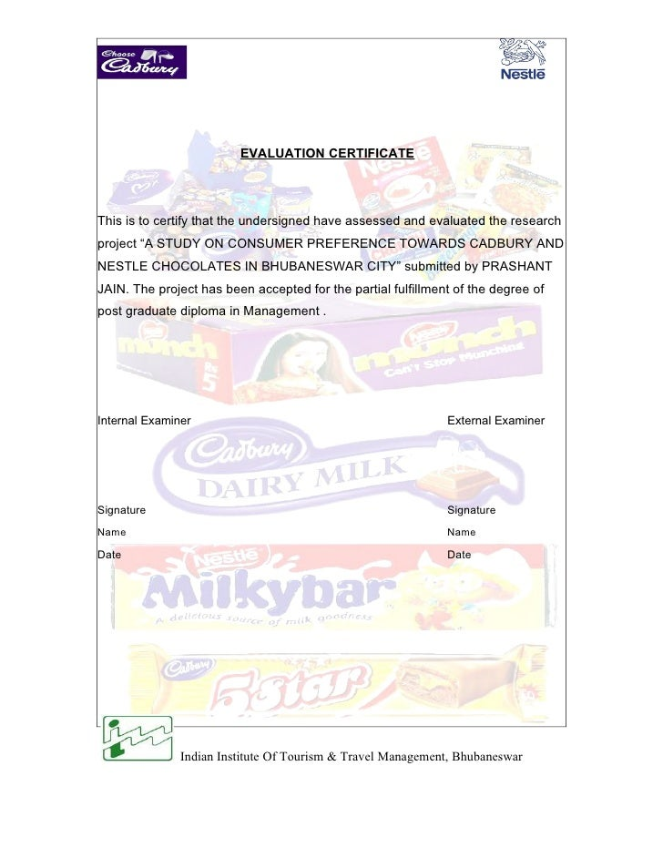a study on consumer preference towards cadbury and nestle chocolates Rash sweetzz studies marketing  preference towards cadbury and nestle chocolates with special  study of consumer preference towards cadbury and nestle.