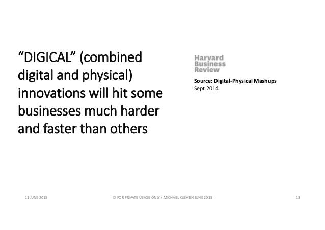 """""""DIGICAL"""" (combined digital and physical) innovations will hit some businesses much harder and faster than others Source: ..."""