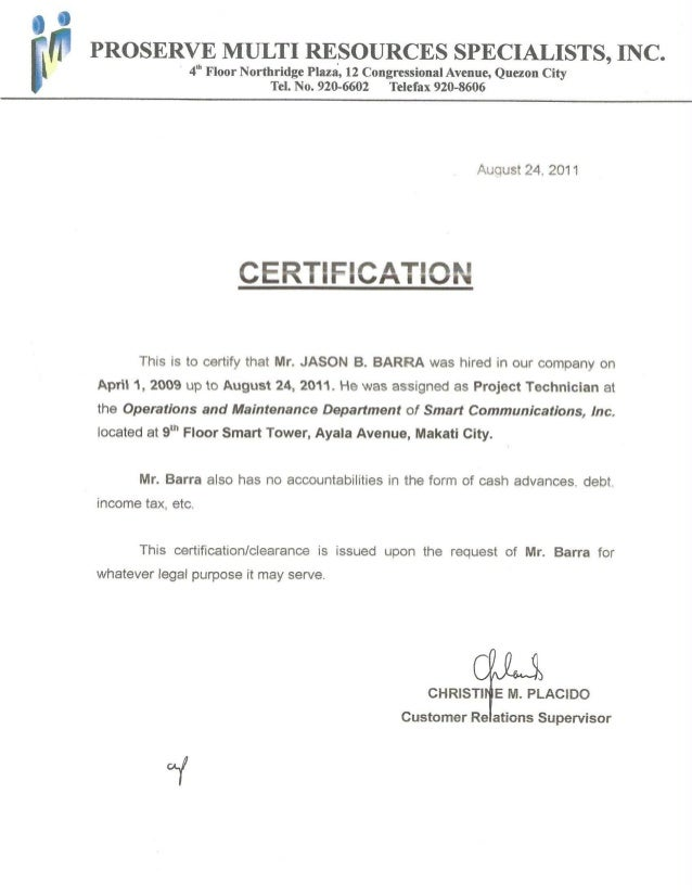 Communication Inc, Certificate of Employment