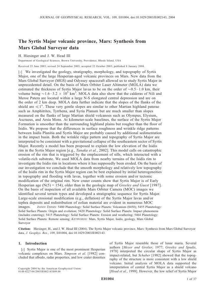 JOURNAL OF GEOPHYSICAL RESEARCH, VOL. 109, E01004, doi:10.1029/2003JE002143, 2004The Syrtis Major volcanic province, Mars:...