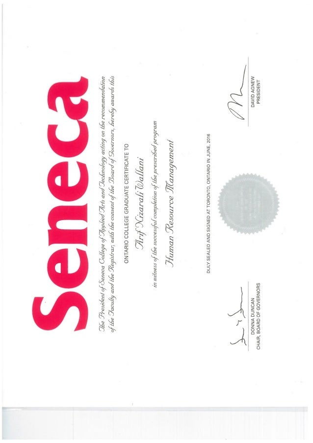 Human Resources Management Certificate Seneca College Arif Wallani