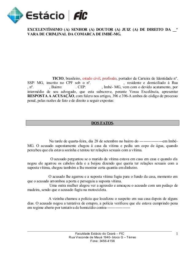 EXCELENTÍSSIMO (A) SENHOR (A) DOUTOR (A) JUIZ (A) DE DIREITO DA __ª  VARA DE CRIM,INAL DA COMARCA DE IMBÉ-MG.  TICIO, bras...