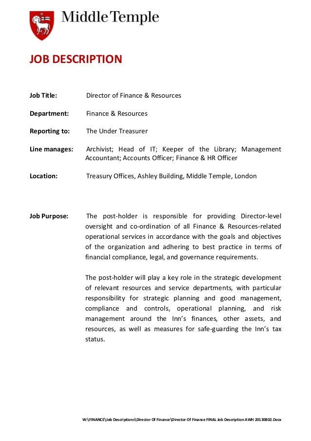 Director Of Finance Final Job Description