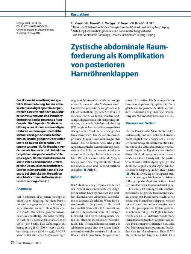 Urologe2011 · 50:74–76 DOI 10.1007/s00120-010-2452-z Online publiziert:11. Dezember 2010 © Springer-Verlag 2010 T.Lehne...