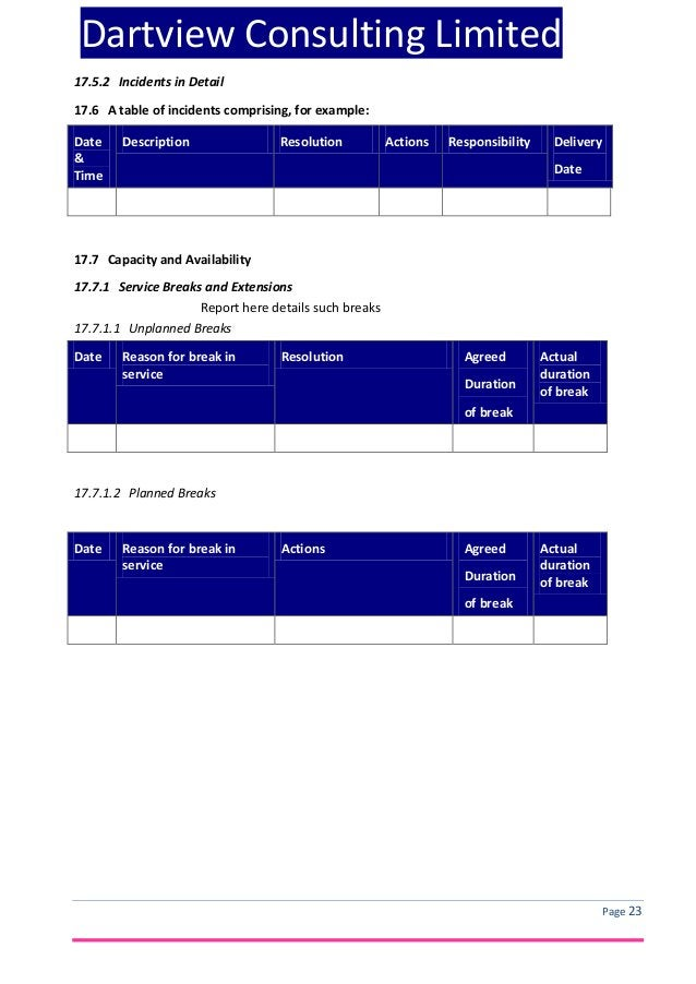 Dartview Consulting Limited 17.5.2 Incidents in Detail 17.6 A table of incidents comprising, for example: Date & Time  Des...