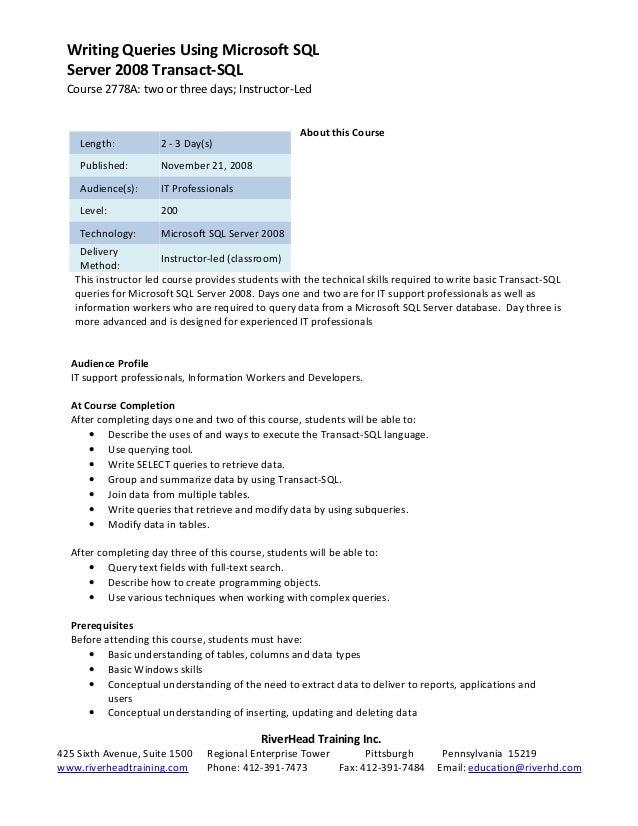 2778 a writing queries using microsoft sql server 2008 transact sql