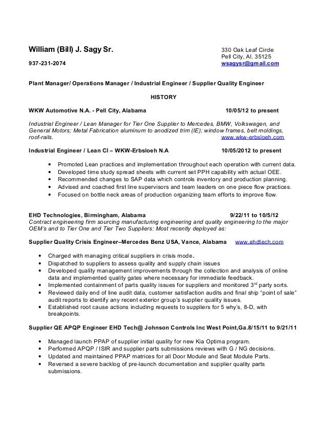 William Sagy Resume Operations Manager Plant ManagerQualityIndust