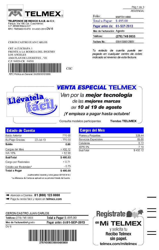 Folio: Total a Pagar: $ 495.00  CERON CASTRO JUAN CARLOS CRT A CUICHAPA 1 FRENTE A LA BODEGA DEL INGENIO LOS ANGELES AMATL...