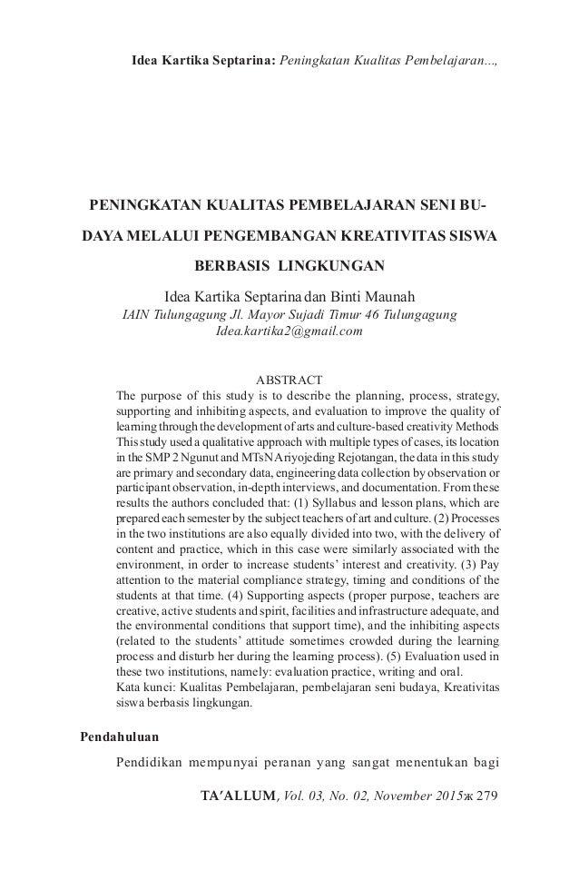TA'ALLUM, Vol. 03, No. 02, November 2015ж 279 Idea Kartika Septarina: Peningkatan Kualitas Pembelajaran..., PENINGKATAN KU...