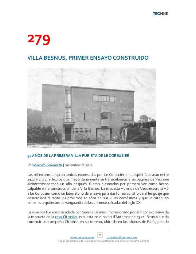 279VILLA BESNUS, PRIMER ENSAYO CONSTRUIDO90 AÑOS DE LA PRIMERA VILLA PURISTA DE LE CORBUSIERPor Marcelo Gardinetti   Dicie...