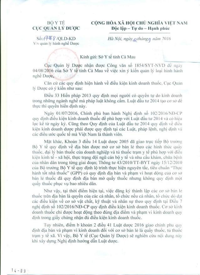 Công văn số 17768/QLD-KD ngày 12/9/2016 của Cục Quản lý Dược gửi Sở Y tế Cà Mau về việc quản lý hành nghề dược