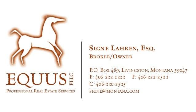 Equus business card equus business card signe lahren esq brokerowner po box 489 livingston montana 59047 reheart Images