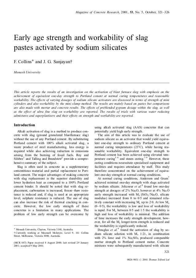 Early age strength and workability of slag pastes activated by sodium…