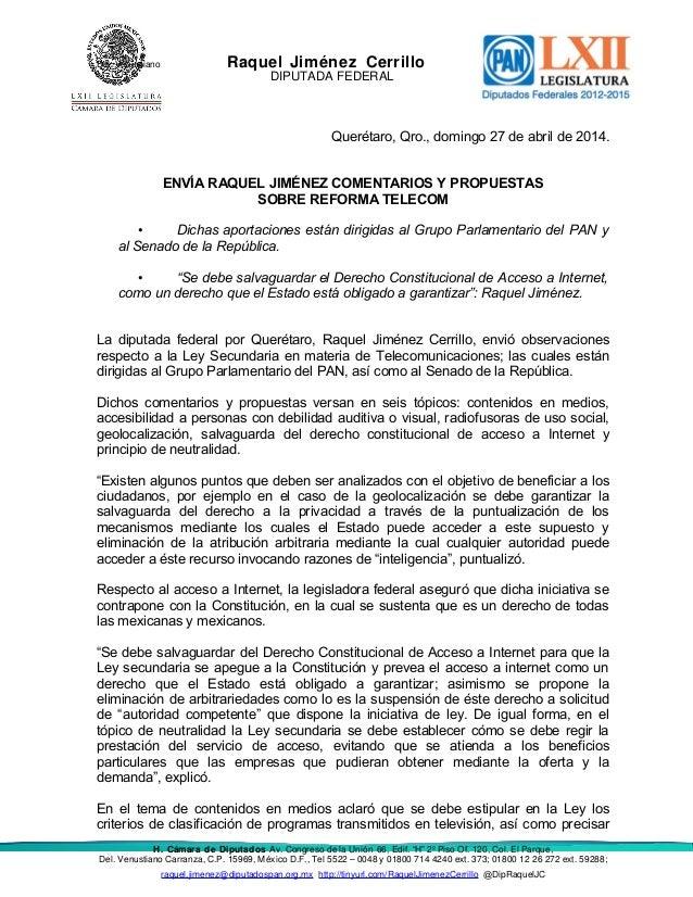 Del. Venustiano Raquel Jiménez Cerrillo DIPUTADA FEDERAL Querétaro, Qro., domingo 27 de abril de 2014. ENVÍA RAQUEL JIMÉNE...