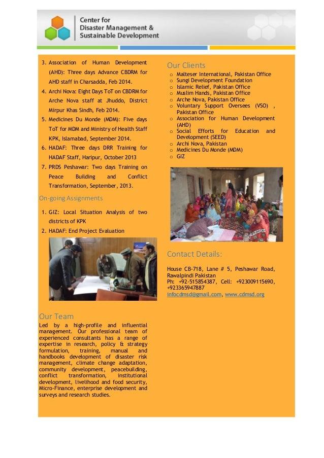 3. Association of Human Development (AHD): Three days Advance CBDRM for AHD staff in Charsadda, Feb 2014. 4. Archi Nova: E...