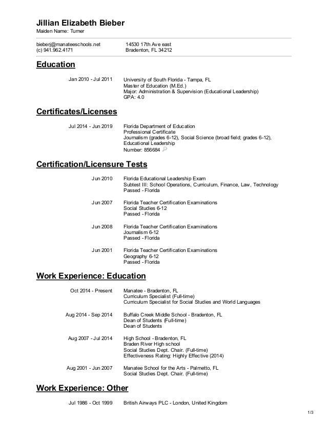 jillian bieber 2015 resume