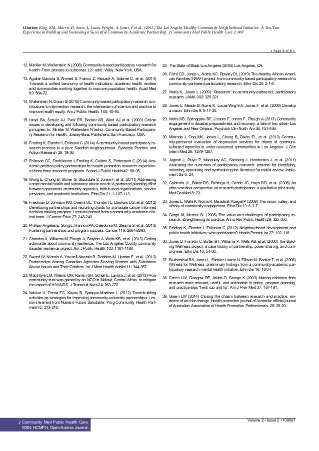 Citation: King, KM, Morris, D, Jones, L, Lucas-Wright, A, Jones, F et al., (2015) The Los Angeles Healthy Community Neighb...