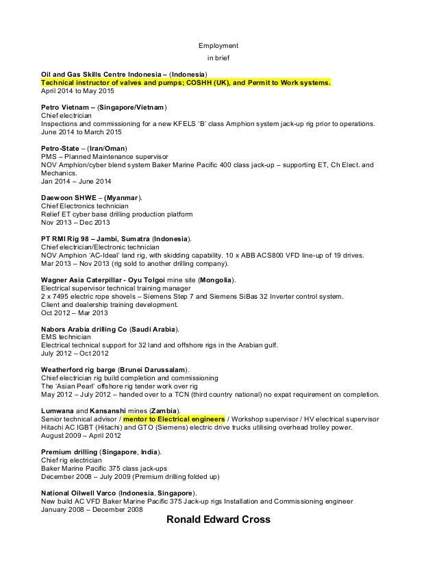 ronald edward cross 4 chief baker resume